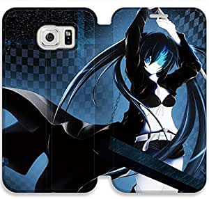 Black Rock Shooter-2 iPhone Samsung Galaxy S6 Leather Flip Case Protective Cover New Colorful