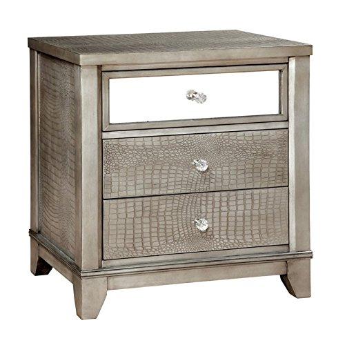 HOMES: Inside + Out ioHOMES Nilean Contemporary Nightstand, Silver (And Nightstand Mirror Wood)