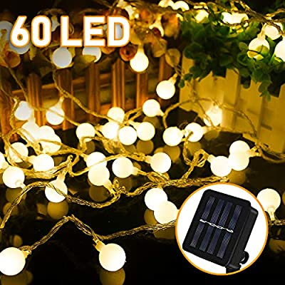 Cadena de Luz Solar , 8 Metros 60 LED Solar de Luces,8 Modos IP65 Iluminación Solar Impermeable para Jardín, Patio, Balcón, Boda, Decoración de Fiesta (Blanco Cálido): Amazon.es: Jardín