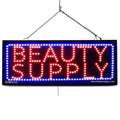 Large LED Window Beauty Salon Sign - Beauty Supply - Extra Bright LEDs - Can Be Seen Through Tinted Windows - Extra Large - 32 inches Wide (#2593)
