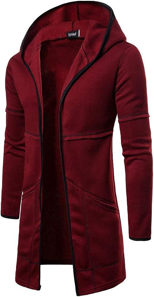 Sumen Men Slim Fit Hooded Open Front Cardigan Long Sleeve Sweater Long Trench Coat Jacket