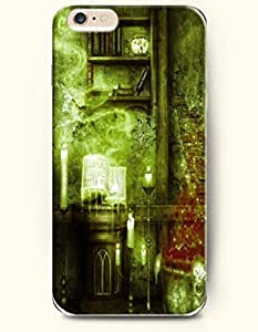 SevenArc Apple iPhone 6 Plus case 5.5 inches - Happy Halloween Green Horror House With Candle And Book Dripping