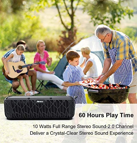 ABFOCE Solar Bluetooth Speaker Portable Outdoor Bluetooth IPX6 Waterproof Speaker with 5000mAh Power Bank,60 Hours Play Time Dual Speaker with Mic, Stereo Sound with Bass Home Wireless Speaker-Black 51ROlJkuFoL