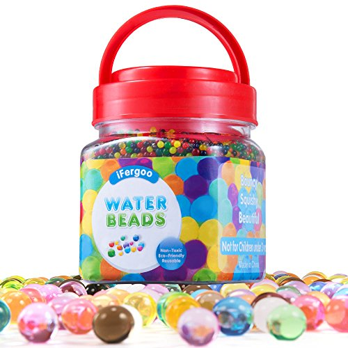ifergoo Water Beads, 10 oz (50000 Beads) Crystal Water Gel Bead Pearls for Vase Filler, Spa Refill, Sensory Toys, Colorful Décor & Outdoor Play