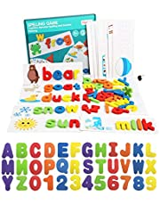 Tizzic 2020 NEW Wooden Words Spelling Puzzle Game Set,Funny Color English 26 Alphabet,Picture Card Letters Recognition Toy,Toddler Preschool Learning Toy - For Kids Boys Girls Age 3+ Years Old (28 Double-Sided Flashcards And 52 Wooden Alphabet Blocks)