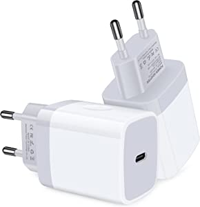 USB C Adapter, European Plug Adapter, 2-Pack Fast 18W Europe Travel Plug Power Adapter Type C Wall Chargers for iPhone 12 11 Pro Max SE XR XS X SE 8 7 6, Samsung Galaxy S21,Note 20, iPad, Google Pixel
