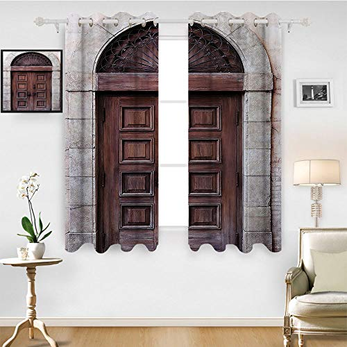 (SATVSHOP Windows Curtains Living Room 2 Panel - 108W x 84L Inch- Blackout Draperies for Bedroom.Rustic Arched Wooden Venetian Door with Islamic oyal Ottoman Elements European Culture Brown Cream.)