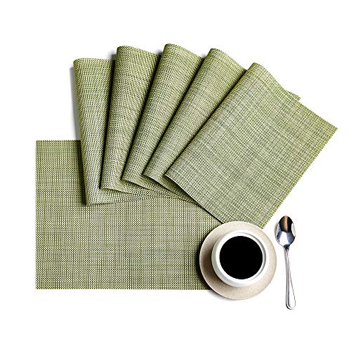 - DOLOPL Placemats, PVC Table Mats,Placemat Sets of 6 Non-Slip Washable Coffee Mats,Heat Resistant Kitchen Tablemats (Green)