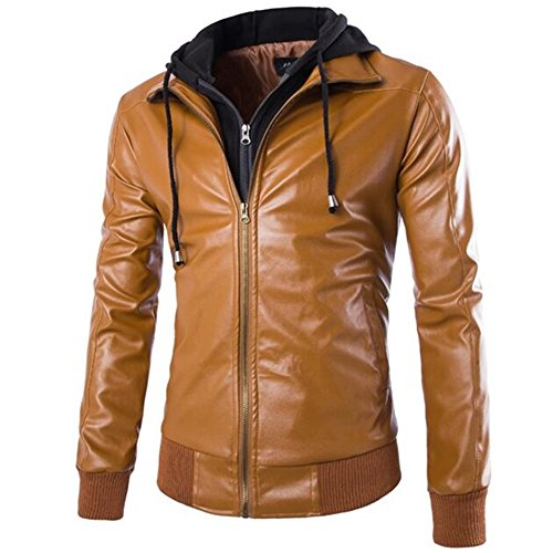 Allonly Men's Fake Two Pieces Pu Leather Motorcycle Rider Bomber Hoodie Jacket