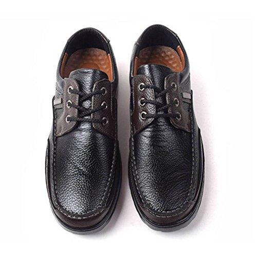 Epicstep Heren Casual Comfort Lederen Mode Sneakers Schoenen Zwart