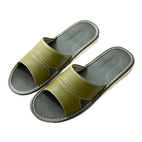 Slippers Anti Indoor TELLW Couple Leather Male Home Summer women Female Floor green Wooden Slippers Sliding PPzTSUw