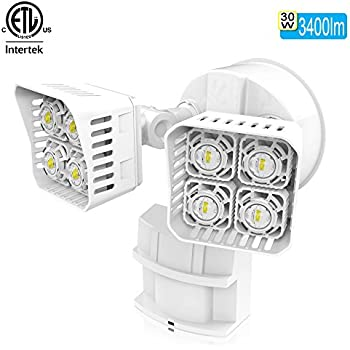 SANSI LED Security Motion Sensor Outdoor Lights, 30W (250W Incandescent Equivalent) 3400lm, 5000K Daylight, Waterproof Floodlight, White