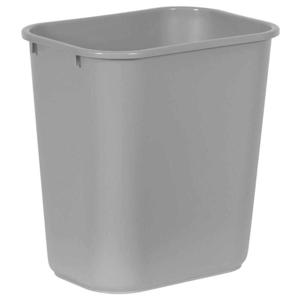 Plastic Wastebasket, Medium, 28 1/8 Quart, Gray, RUB295600GY