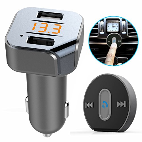 Bluetooth FM Transmitter Hands-Free Car Kit - Maxesla Bluetooth 4.1 Car Charger with Dual USB Ports, Wireless In-Car Radio Adapter Receiver, App Vehicle Location GPS, MP3 Player with Remote Control