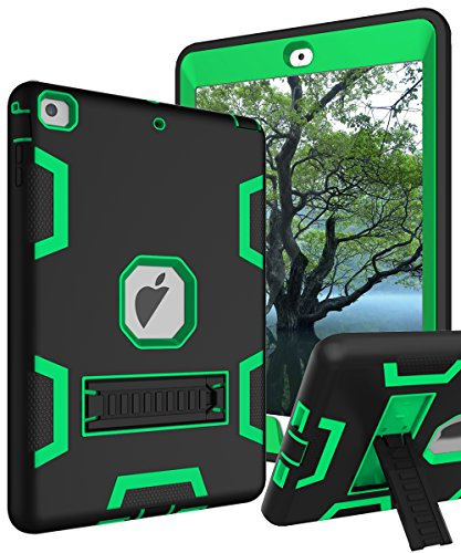 TIANLI Case for iPad Air Three Layer Plastic and Silicone Protection Heavy Duty Shockproof Protective Cover for iPad Air 9.7 inch - Black Green