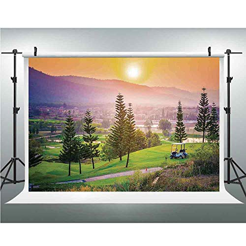 Hill Curtain Cotton (Farm House Decor,Cotton Cloth Backdrop Newborn Photography Baby Photo Studio Props Adults Portrait Pictures Background,3.28x5ft,Vibrant Golf Resort Park in Spring Season with Trees Sunset Hills and Va)