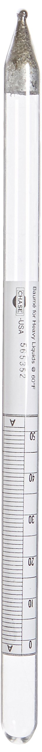 Chase Instruments BH13 Baume Precision Hydrometer, 0 to 50 Range, 0.10mm Interval, 300mm Length
