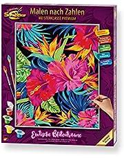Schipper 609130851 cyfry, egzotyczne kwiatowe obrazy dla dorosłych, łącznie z pędzlem i farbami akrylowymi, 40 x 50 cm