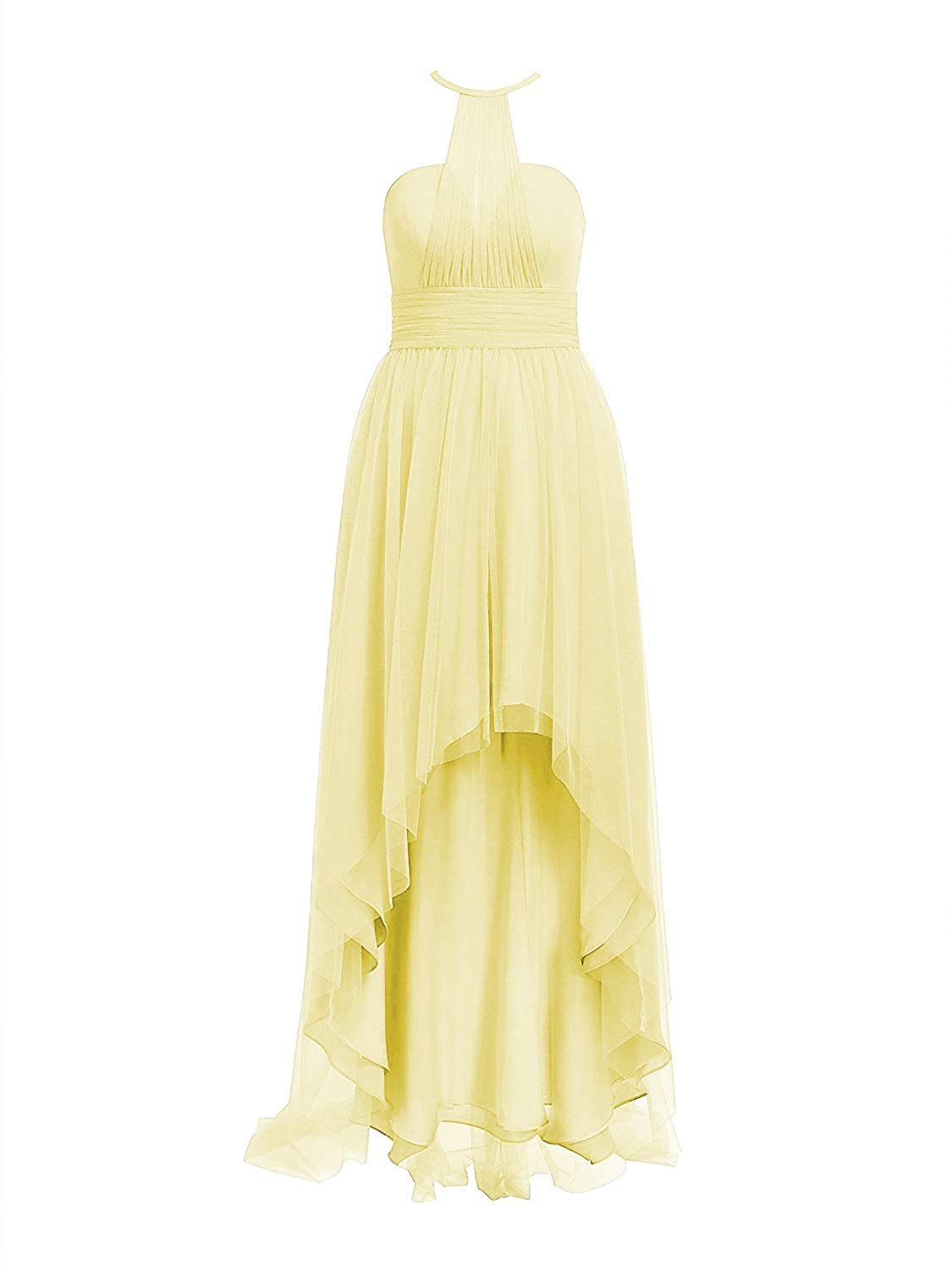 Yellow Tulle Bridesmaid Dresses High Low Halter Prom Party Gowns Backless Evening Formal Dress