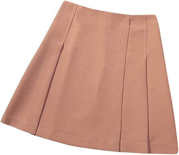 Gergeos Fashion Womens Satin Skirts High Waist Solid Color Loose Casual A-Line Skirts