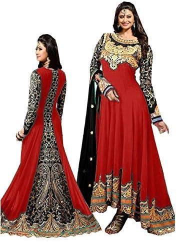 8ade441ec843 Women's Faux Georgette Karma Anarkali Suit (Red, Free Size): Amazon ...