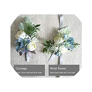 New Bride Groom Corsage Flower Wedding Decoration Boutonnieres Rose Hand Wrist Flower All Guests Decor 11