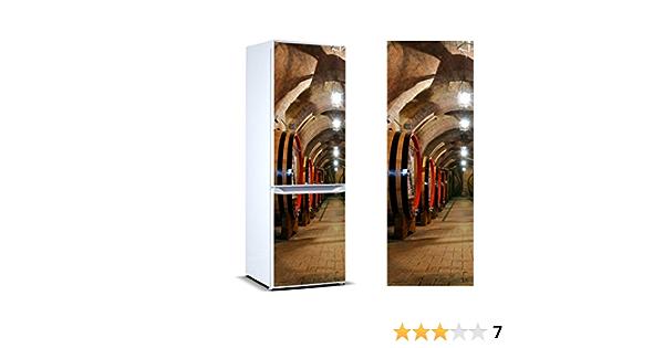 Vinilo para Frigorífico Barricas en Bodega | Varias Medidas 185x60cm | Adhesivo Resistente y de Fácil Aplicación | Pegatina Adhesiva Decorativa de ...