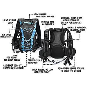 Hydration Backpack With 2.0L TPU Leak Proof Water Bladder- 600D Polyester -Adjustable Padded Shoulder, Chest & Waist Straps- Silicon Bite Tip & Shut Off Valve- (Blue Edges)