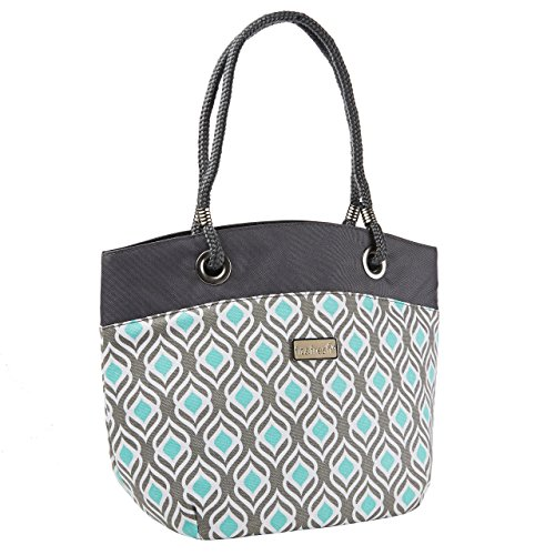 Fit and Fresh-Signature Collection Ladies' Brisbane Insulated Tote - Grey Aqua Leaf Drop - Aqua Womens Bag