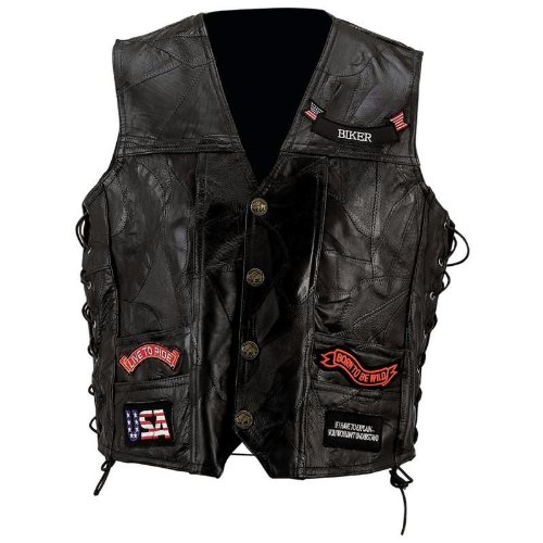 Diamond Plate™ Rock Design Genuine Buffalo Leather Vest (Medium) Diamond Plate Mens Vest