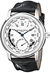 Frederique Constant World Timer Mens Designer Watch - Silver Dial Analog GMT 24 Hour Watch - Stainless Steel Black Leather Strap Swiss Watch with Second Hand - Frederique Constant Automatic Watch FC-718MC4H6
