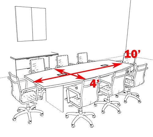 Modern Boat Shaped 10' Feet Conference Table, OF-CON-C60
