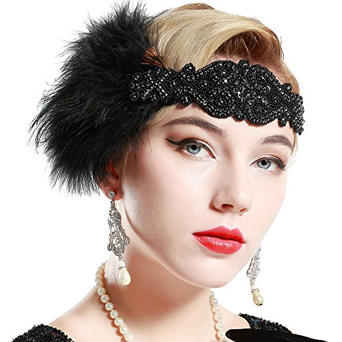BABEYOND 1920s Flapper Headband Roaring 20s Peacock Feather Headdress Great Gatsby Headpiece Vintage 1920s Flapper Gatsby Accessories Black -