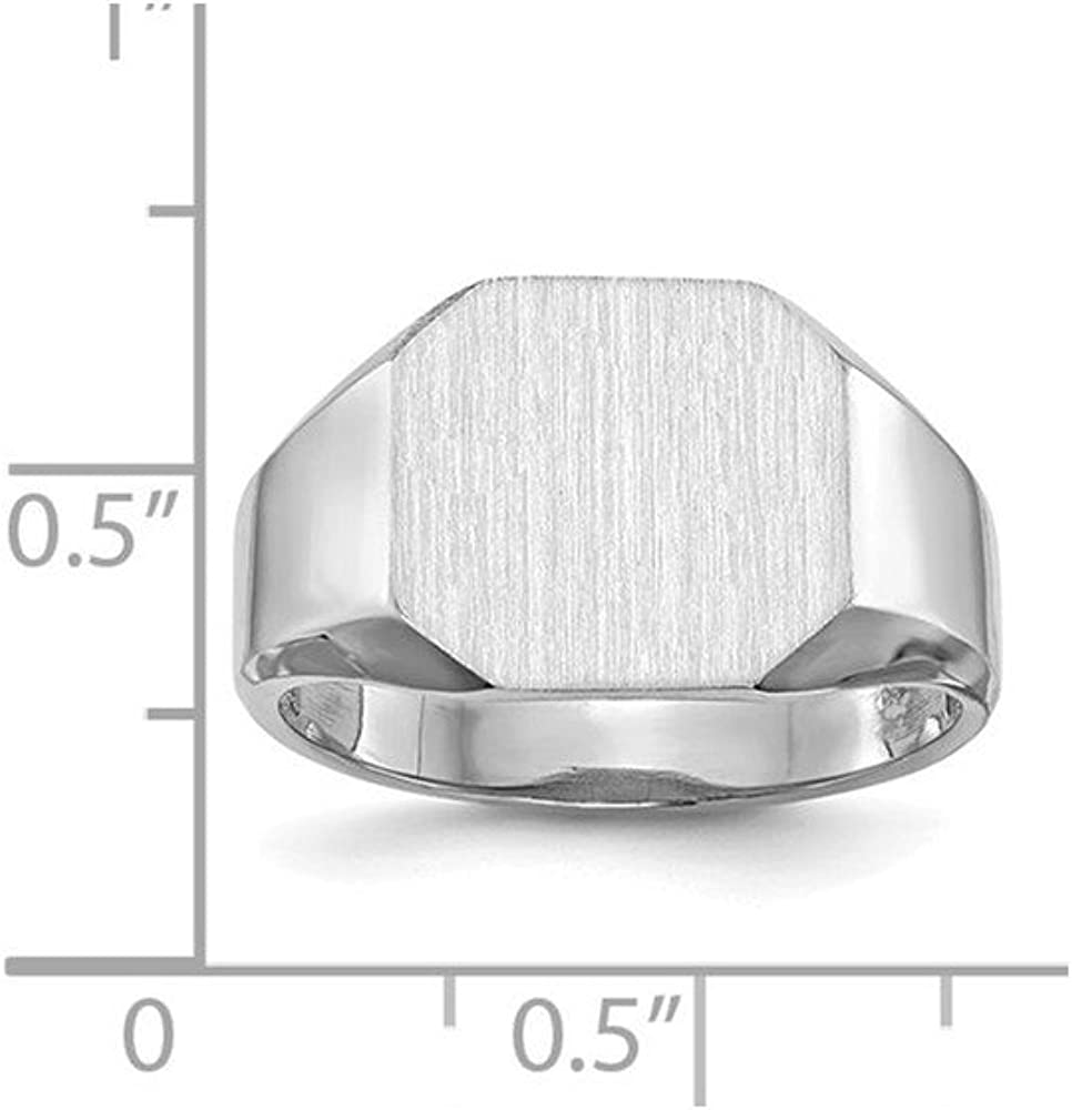 Jewels By Lux 14k White Gold Signet Ring