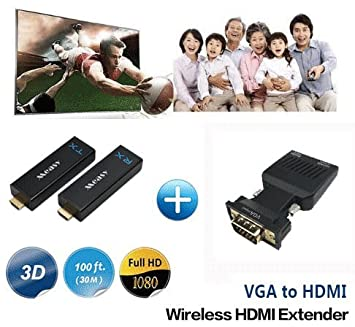 W2H Nano + Adaptador VGA a HDMI Medida Home Wireless Transmisor & Receptor para Full HD