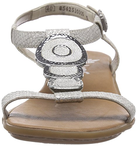 Rieker 63478 - Sandalias con Cuña Mujer Blanco (Ice/white-silver / 80)