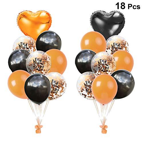 Amosfun Halloween Decorative Balloons Set Orange Black Latex Balloons Aluminum Foil Love Confetti Balloons Halloween Decoration Supplies 18 PCS 18 Inch (Bat)]()
