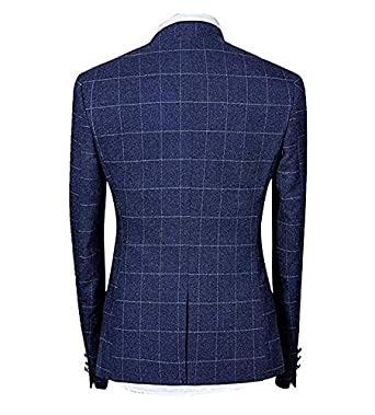 Mens Suits 2 Piece Tweed Suit Slim Fit Checked Vintage Blazer Jacket Formal Business Suit Trousers