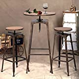 3PC Industrial Vintage Metal Design Bistro Set Adjustable High Bar Chair Antique Review