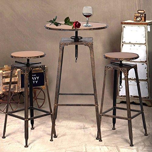 Beautiful 3PC Industrial Vintage Metal Design Bistro Set Adjustable High Bar Chair  Antique