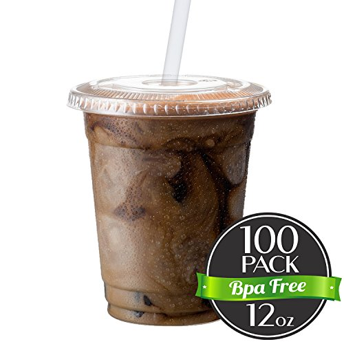 Cold Smoothie Go Cups and Lids | Iced Coffee Cups | Plastic Cups with Lids | 12 oz Cups, 100 Pack | Clear Disposable Pet Cups | Ideal for Bubble Tea Juice Soda Cocktail Party Cups [Drinket Collection] (Plastic Lid Travel)