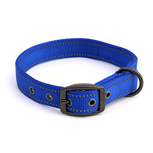 Max and Neo MAX Reflective Metal Buckle Dog Collar - We Donate a Collar to a Dog Rescue for Every Collar Sold (Large, Blue) (Fb Metal Finishes Pull)