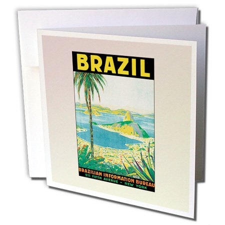 3dRose Vintage Travel Brazil Postcard - Greeting Cards, 6 x 6 inches, set of 6 (gc_99197_1) ()
