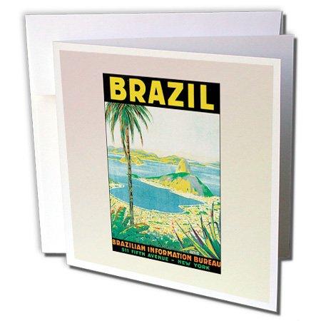 Brazil Postcard (3dRose Vintage Travel Brazil Postcard - Greeting Cards, 6 x 6 inches, set of 6 (gc_99197_1))