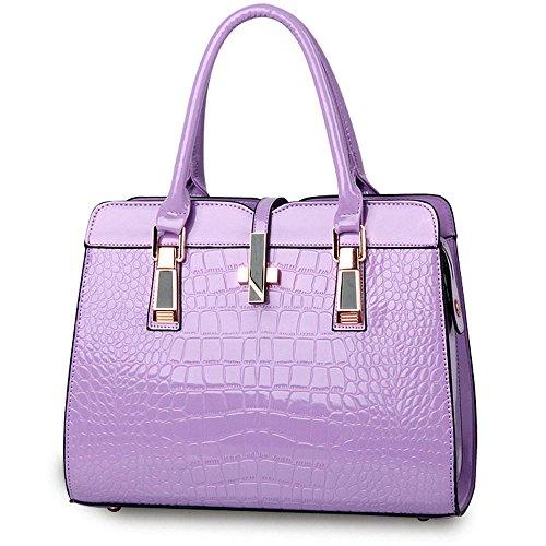 Motif Crocodile Sac à Main pour les Femmes Dames - Lumineux cuir verni / Haute Qualité Sac à Bandoulière / Européen et Américain Style Sac à épaule / Classique et Fonctionnelle Fourre-tout - Noir Purple