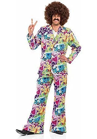 Mens 60s 70s Groovy Hippie Hippy Costume Shirt Afro Wig 60/'s 70/'s Fancy Dress