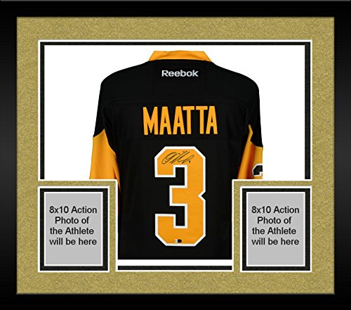 Framed Olli Maatta Pittsburgh Penguins 2016 Stanley Cup Champions Autographed Black Reebok Premier Jersey with 2016 Stanley Cup Finals Patch - Fanatics Authentic Certified