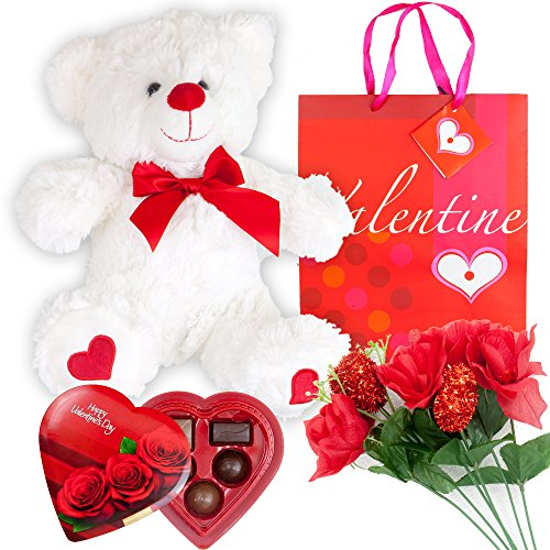 Valentines Day Gift Set Basket | 12 Inches Teddy Bear Plush Artificial Rose Flower Bouquet Love Elmer Chocolate Gift Box Premium Gift Bag | Love Heart For Her Wife Girlfriend Mother Daughter
