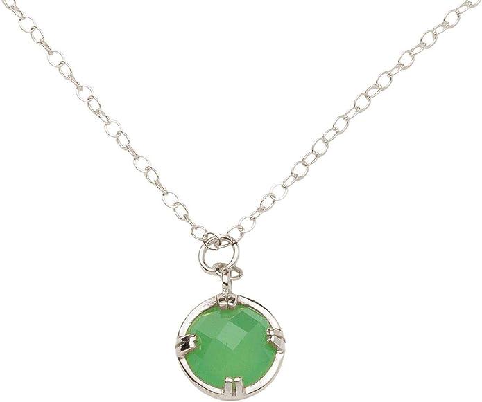 Gemshine Damen Halskette mit grünem Chalcedon Edelstein
