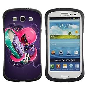 Hybrid Anti-Shock Bumper Case for Samsung Galaxy S3 / Pink Octopus